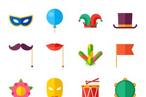 Carnival set of flat icons.