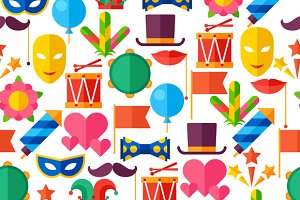 Carnival seamless patterns.