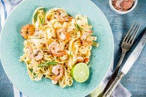 Pasta fettuccine with shrimp