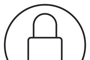 Lock stroke icon, logo illustration