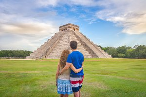Young couple in Chichen Itza, Mexico