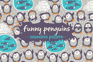 Funny penguins pattern
