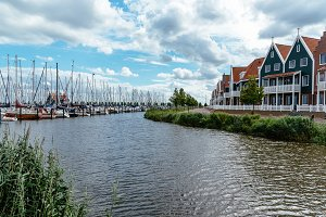 Marina of Volendam with traditional