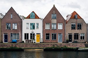 Scenic view of canal and row houses