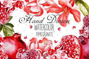 Beautiful watercolor pomegranates