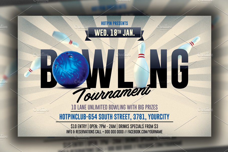 Bowling Night Flyer Template Flyer Templates Creative Market Pro