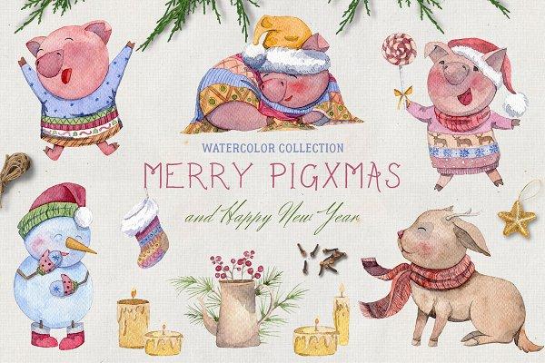 Merry pigsmas. Watercolor collectio…