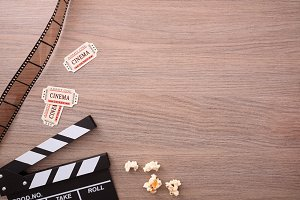 Clapperboard and tickets top view