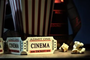 Vintage elements of cinema front