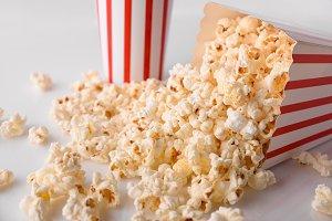 Popcorn in cardboard box on table
