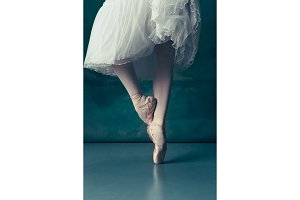 Close-up ballerinas legs in pointes