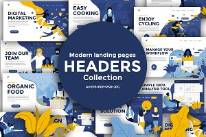 Landing page template on various top