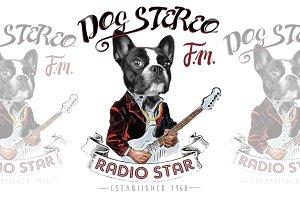 Music-themed french bulldog artwork