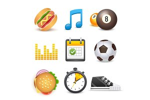 Set of vector beautiful icons diet