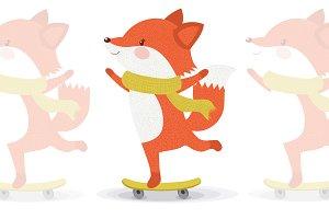 Cute fox animal.Baby fox vector.