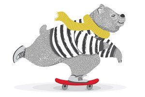 Cute bear skateboard vector design