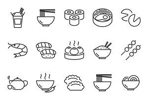 Asian food icons set