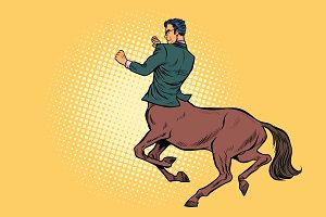 pop art Businessman centaur ready to