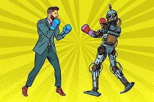 Man Boxing with a robot