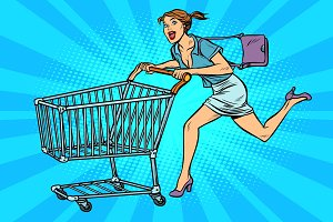 pop art Woman running with shopping