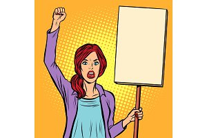 pop art Woman protesting with a
