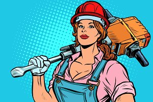 pop art women road worker Builder