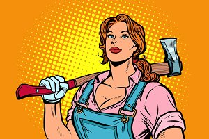 working woman woodcutter with axe