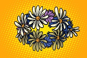 wreath of wild flowers chamomile