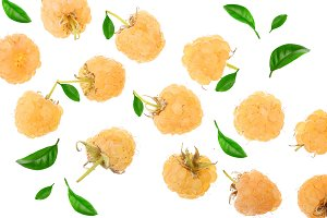 Yellow raspberries with leaf