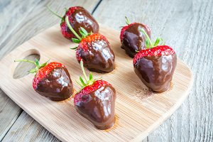 Fresh strawberries in chocolate