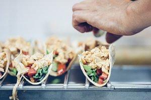 Tasty spanish tapas in close up