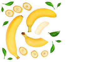whole and sliced bananas isolated on