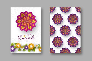 Diwali festival holiday posters with