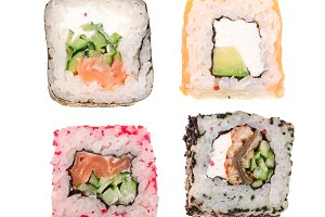 sushi roll isolated on white