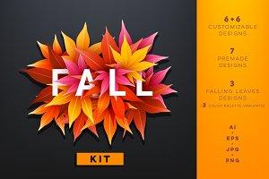 Fall leaves design kit