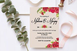 Red Flower Wedding Invitation