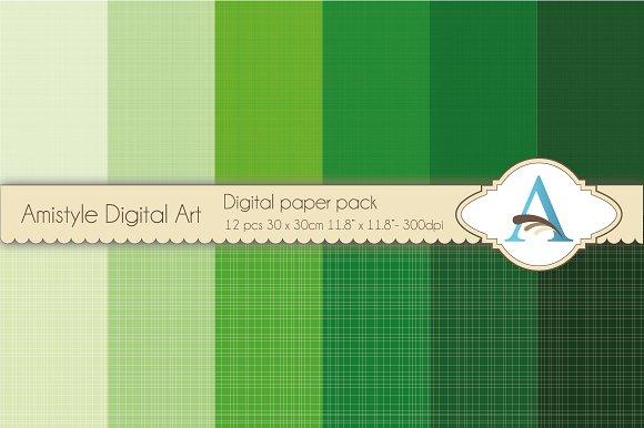 Linen - Green - Digital Papers