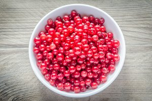 Bowl with fresh redcurrant