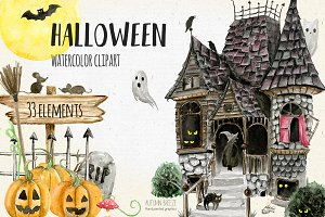 Halloween clipart, haunted house
