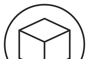 Cube stroke icon, logo illustration