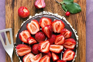 Chocolate cake decorated with fresh