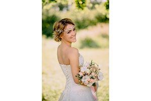 portrait of young bride against