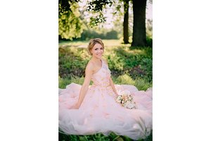 portrait of bride in pink dress