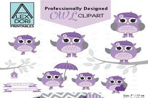 Girl Baby Owl Clipart