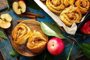 Fresh Homemade Rolls Buns with apple