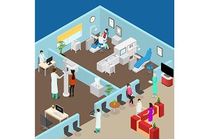 Dentistry Concept Set Isometric View