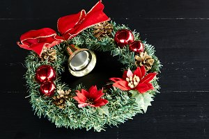Wreath Red Ribbon Christmas