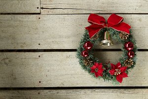 Christmas Wreath wooden background