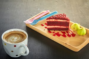Red velvet with Coffee and  Fig wood