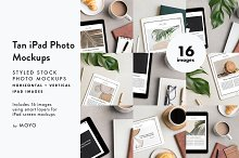Tan iPad Photo Mockup Bundle by  in Product Mockups